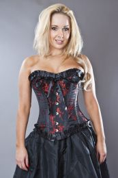 Lily overbust lace up corset in black and red petals