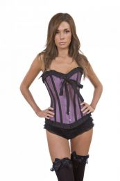 Lily overbust corset in lilac taffeta
