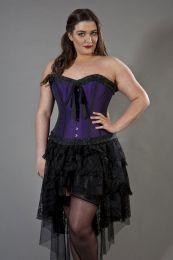 Lily overbust plus size corset in purple taffeta