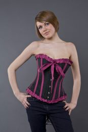 Lily overbust steel boned corset in black and magenta taffeta