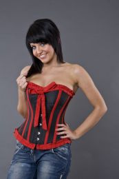 Lily overbust steel boned corset in black and red taffeta