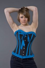 Lily overbust steel boned corset in black and turquoise taffeta
