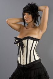 Lily overbust steel boned corset in cream taffeta