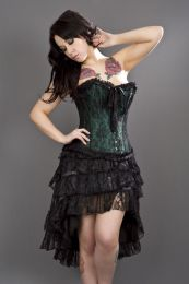 Lily overbust steel boned corset in green satin and black lace overlay