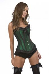 Lily overbust steel boned corset in green taffeta