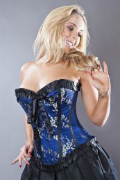 Lily overbust steel boned corset in navy blue satin and gold petals