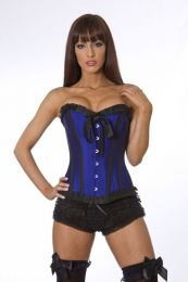 Lily overbust steel boned corset in navy blue taffeta