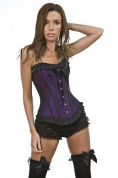 Lily overbust steel boned corset in purple taffeta