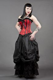 Lily overbust steel boned corset in red satin and black petals