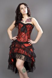 Lily overbust steel boned corset in red satin and black lace overlay