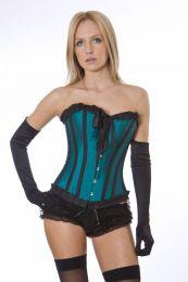 Lily overbust steel boned corset in tropical green taffeta