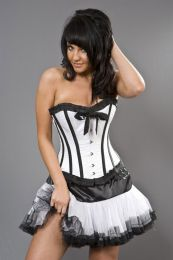 Lily overbust steel boned corset in white satin