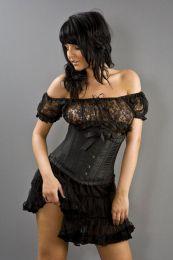 Lily underbust steel boned waist training corset in black taffeta