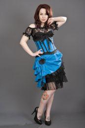 Lily underbust steel boned waist training corset in turquoise taffeta