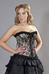 Lily zip overbust burlesque corset in gold satin and black lace overlay