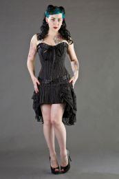 Lily zip overbust burlesque corset in pinstripe
