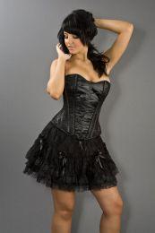 Lolita burlesque mini skirt in black satin and black lace overlay