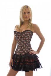 Lolita burlesque mini skirt in burgundy satin
