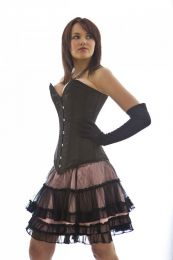 Lolita burlesque mini skirt in pink satin and black mesh overlay