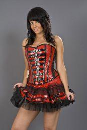Lolita burlesque mini skirt in red PVC