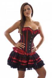 Lolita burlesque mini skirt in red satin