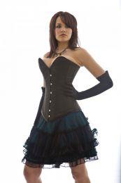 Lolita burlesque mini skirt in turquoise satin and black mesh overlay