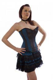 Lolita burlesque mini skirt in turquoise satin