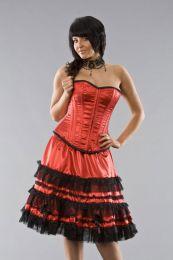 Lolita knee length burlesque skirt in red satin
