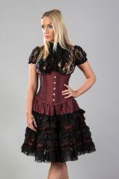 Lolita knee length burlesque skirt in burgundy taffeta