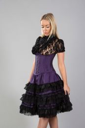 Lolita knee length burlesque skirt in purple taffeta