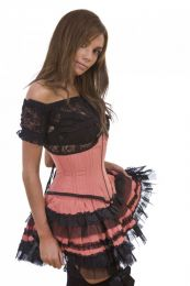Lolita burlesque mini skirt in pink pinstripe