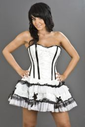 Lolita strapless mini corset dress in white PVC