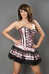 Lolita strapless mini corset dress in pink satin