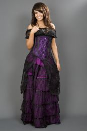 Long line underbust steel boned corset in purple satin and black lace overlay