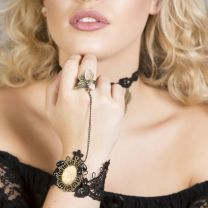 Lucretia gold Black Lace bracelet with ring