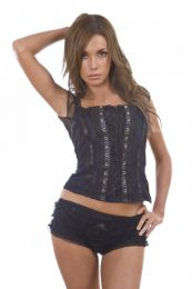 Lucy ladies top navy blue cotton and black lace overlay