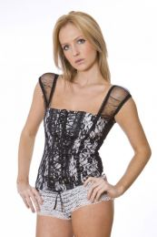 Lucy white cotton top with black lace overlay