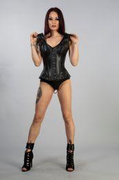 Madam overbust corset with straps in black matte vinyl.