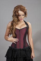 Madison halter neck overbust corset in burgundy taffeta