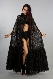Julia gothic hooded cape in black lace with chiffon details. Perfect for your romantic and elegant aristocrat outfits.