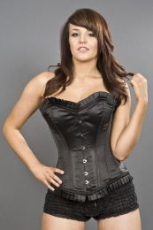 Majesty overbust long line corset in black satin