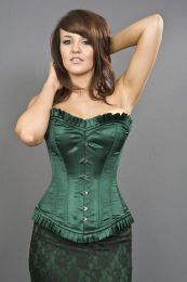 Majesty overbust long line corset in green satin