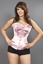 Majesty overbust long line corset in pink satin