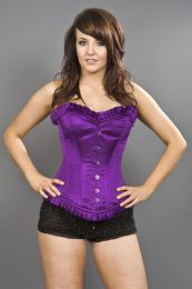 Majesty overbust long line corset in purple satin