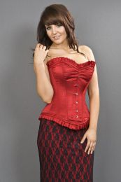 Majesty overbust long line corset in red satin