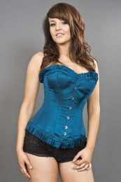 Majesty overbust long line corset in turquoise satin
