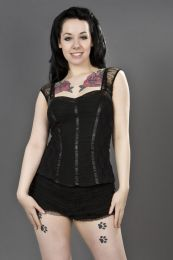 Maria black gothic cotton top with black lace overlay