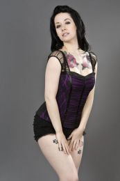 Maria gothic top in purple cotton and black lace overlay