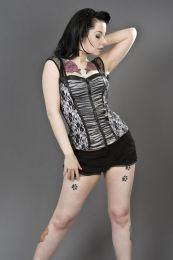 Maria white cotton punk rock top with black lace overlay