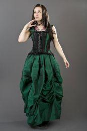 Ballgown victorian gothic long skirt in green taffeta